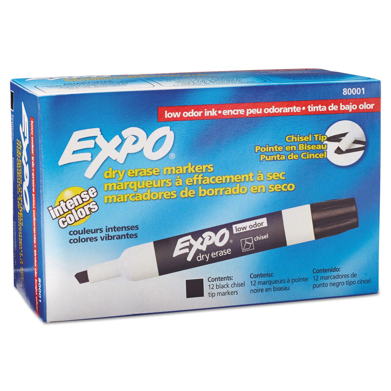 Picture of Low-Odor Dry-Erase Marker, Broad Chisel Tip, Black, Dozen