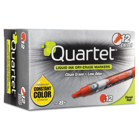 Picture of EnduraGlide Dry Erase Marker, Broad Chisel Tip, Red, Dozen