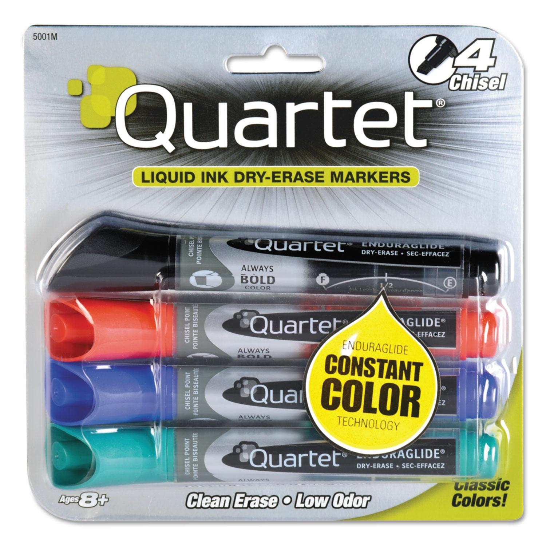Picture of EnduraGlide Dry Erase Marker, Broad Chisel Tip, Assorted Colors, 4/Set