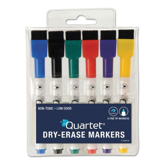 Picture of Low-Odor ReWritables Dry Erase Mini-Marker Set, Fine Tip, Assorted Colors, 6/Set
