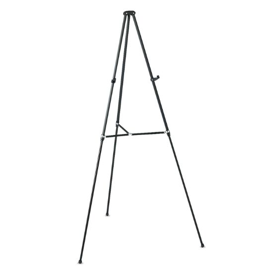 """Picture of Lightweight Telescoping Tripod Easel, Adjusts 38"""" to 66"""" High, Aluminum, Black"""