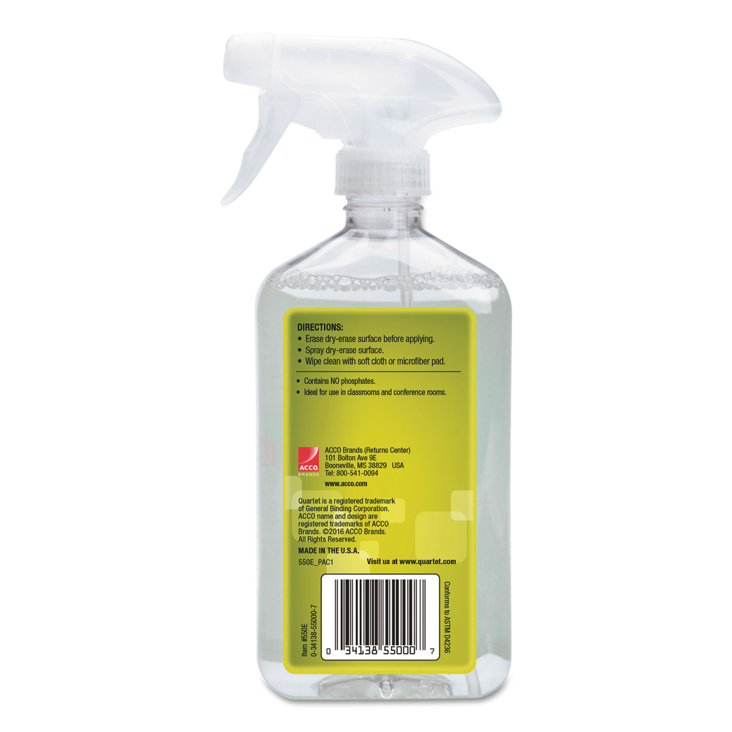 Picture of Whiteboard Spray Cleaner for Dry Erase Boards, 17 oz Spray Bottle