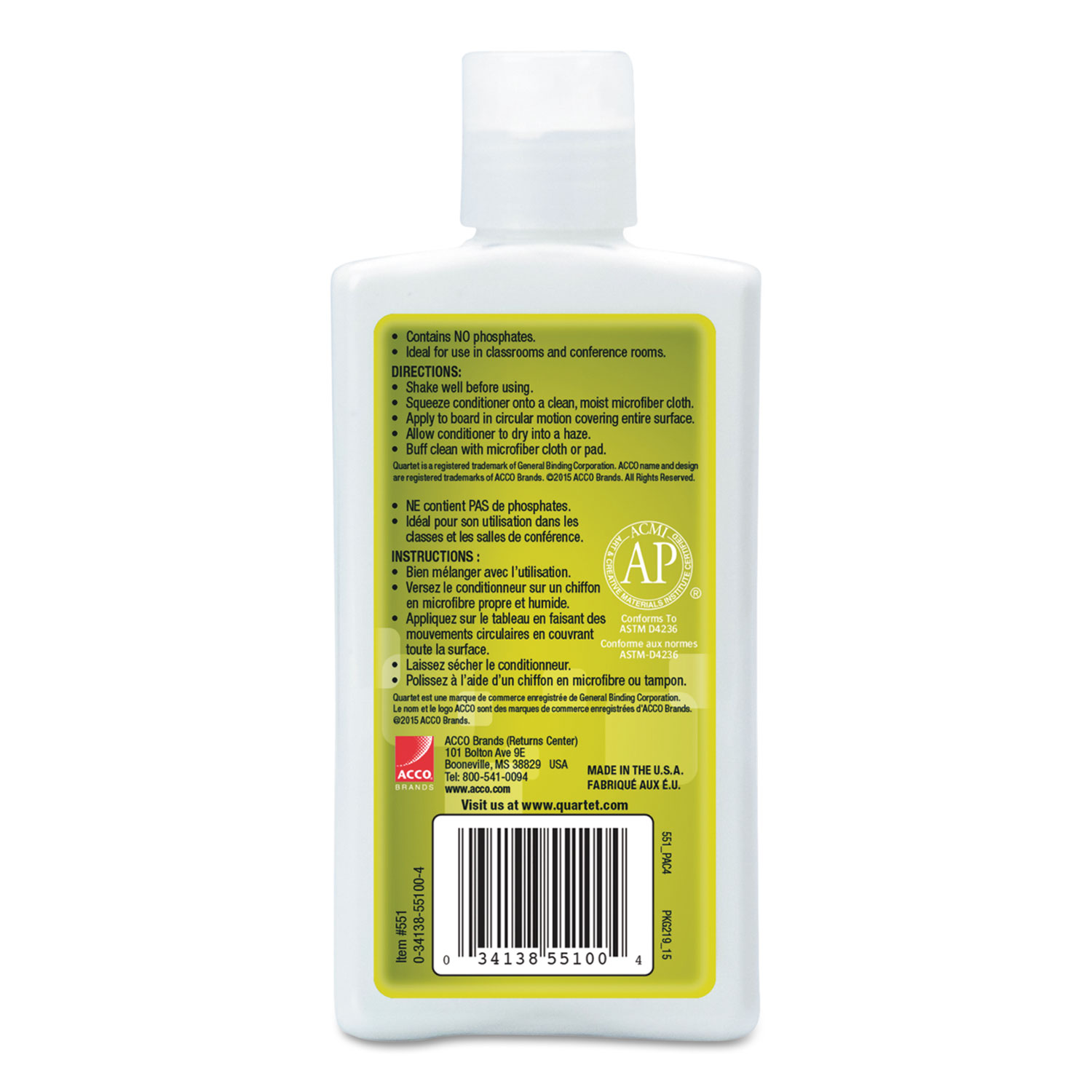 Picture of Whiteboard Conditioner/Cleaner for Dry Erase Boards, 8 oz Bottle