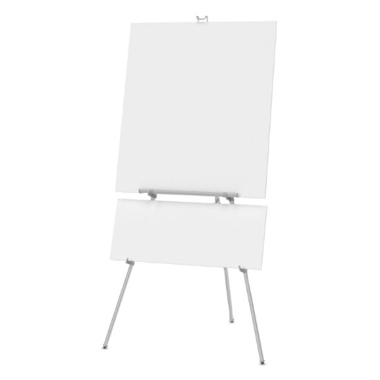 """Picture of Aluminum Heavy-Duty Display Easel, 38"""" to 66"""" High, Aluminum, Silver"""