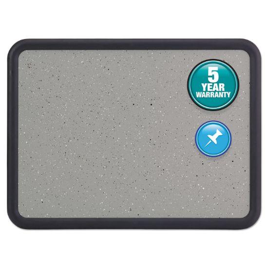 Picture of Contour Granite Gray Tack Board, 48 x 36, Black Frame