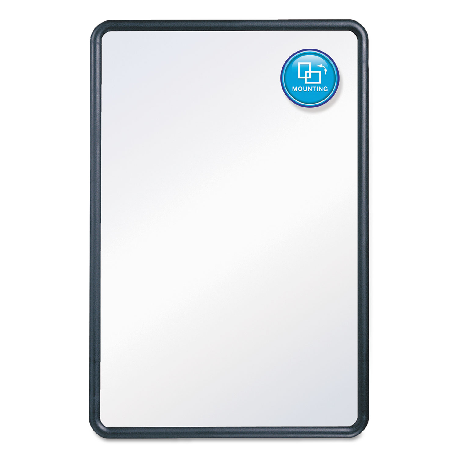 Picture of Contour Dry-Erase Board, Melamine, 24 x 18, White Surface, Black Frame