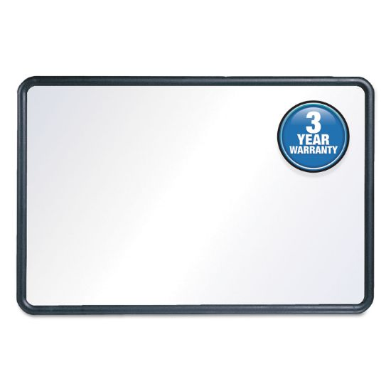 Picture of Contour Dry-Erase Board, Melamine, 48 x 36, White Surface, Black Frame