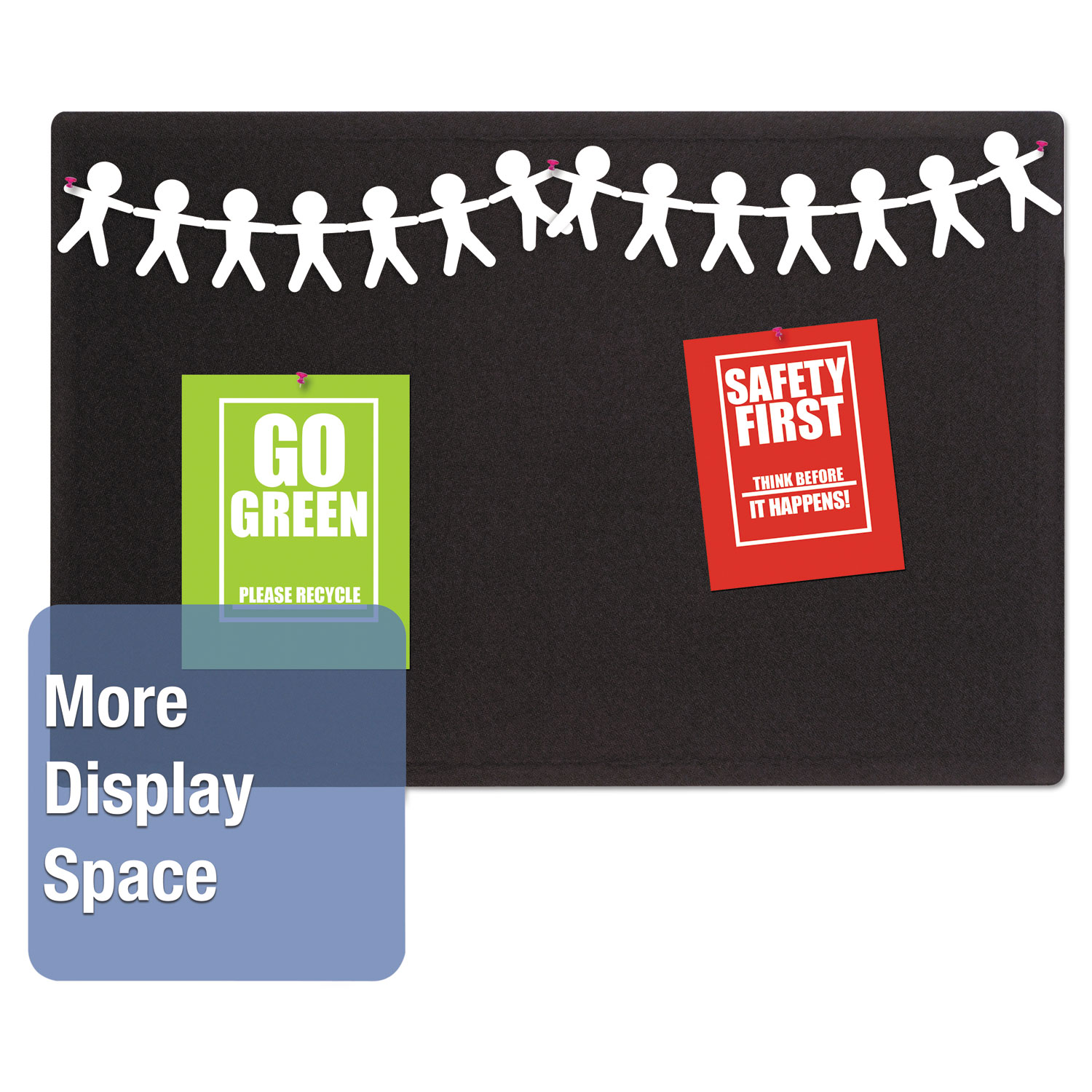 Picture of Oval Office Fabric Bulletin Board, 36 x 24, Black