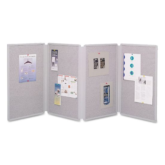 Picture of Tabletop Display Presentation Board, 72 x 30, Gray Surface, Gray Frame