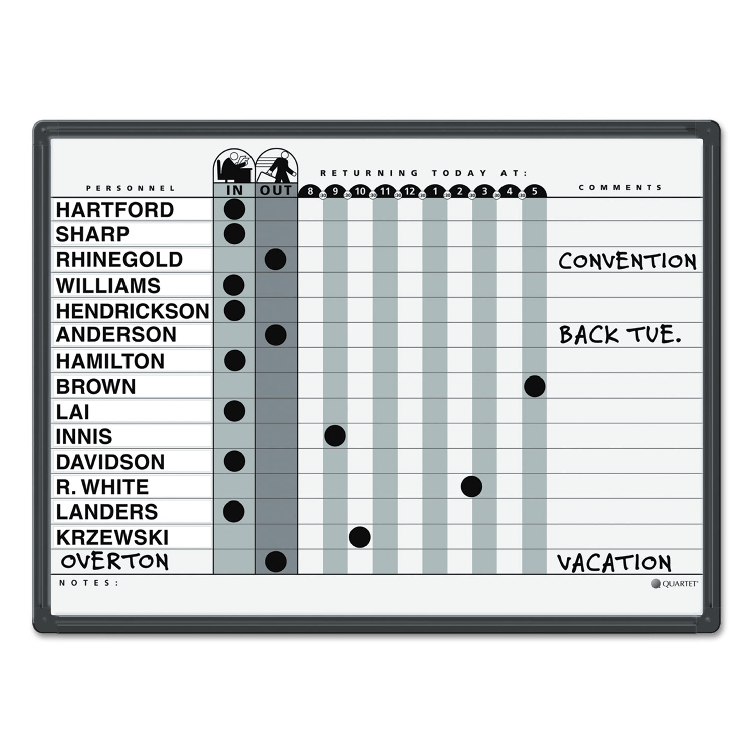 Picture of Magnetic Employee In/Out Board, Porcelain, 24 x 18, Gray/Black, Aluminum Frame