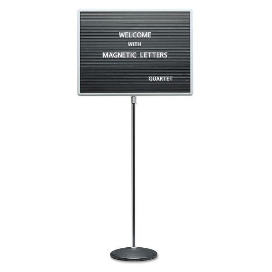 Picture of Adjustable Single-Pedestal Magnetic Letter Board, 24 x 18, Black, Gray Frame