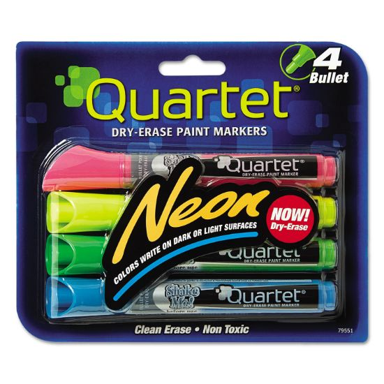 Picture of Neon Dry Erase Marker Set, Broad Bullet Tip, Assorted Colors, 4/Set