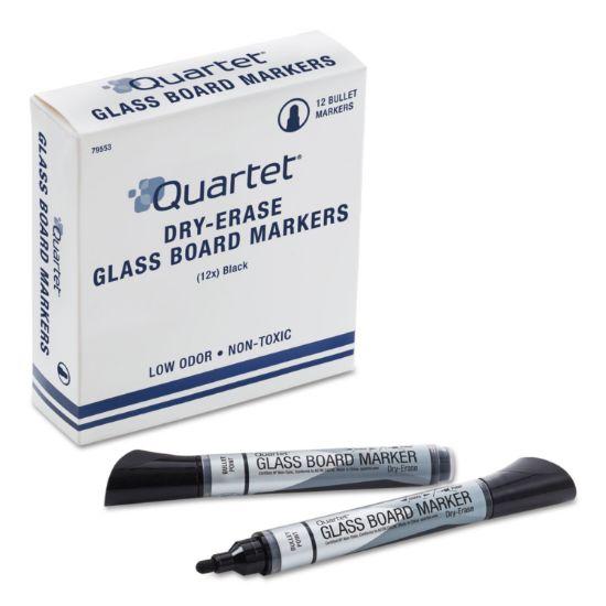 Picture of Premium Glass Board Dry Erase Marker, Broad Bullet Tip, Black, Dozen