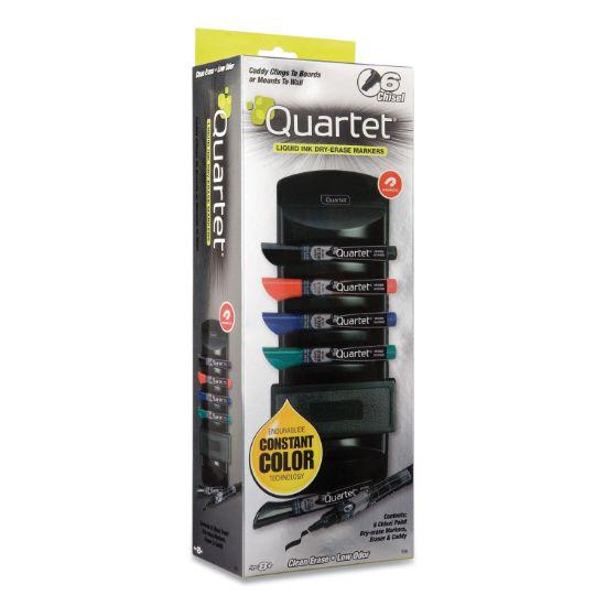 Picture of EnduraGlide Dry Erase Marker Kit, Board Caddy, Board Eraser and 6 Broad Chisel-Tip, Assorted-Color Markers