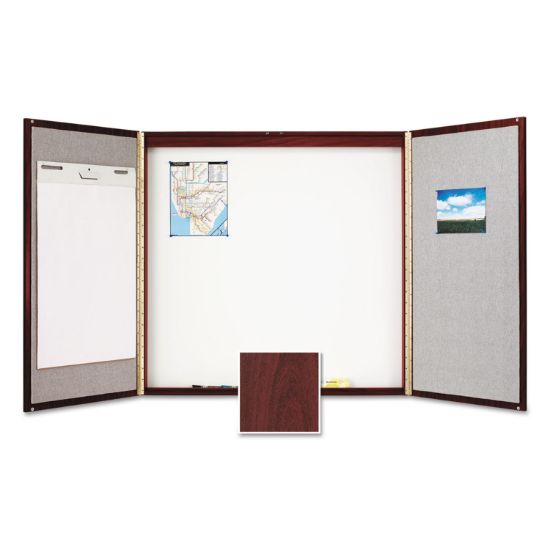 Picture of Cabinet, Fabric/Porcelain-on-Steel, 48 x 48 x 2, Beige/White, Mahogany Frame