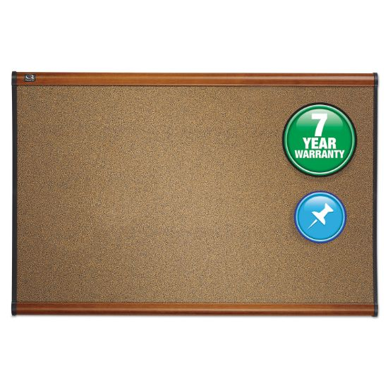 Picture of Prestige Bulletin Board, Brown Graphite-Blend Surface, 48 x 36, Cherry Frame