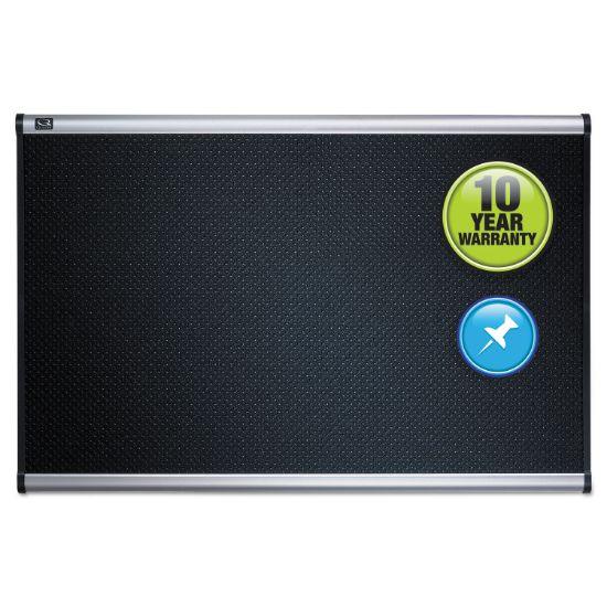 Picture of Prestige Embossed Foam Bulletin Board, 72 x 48, Black, Aluminum Frame