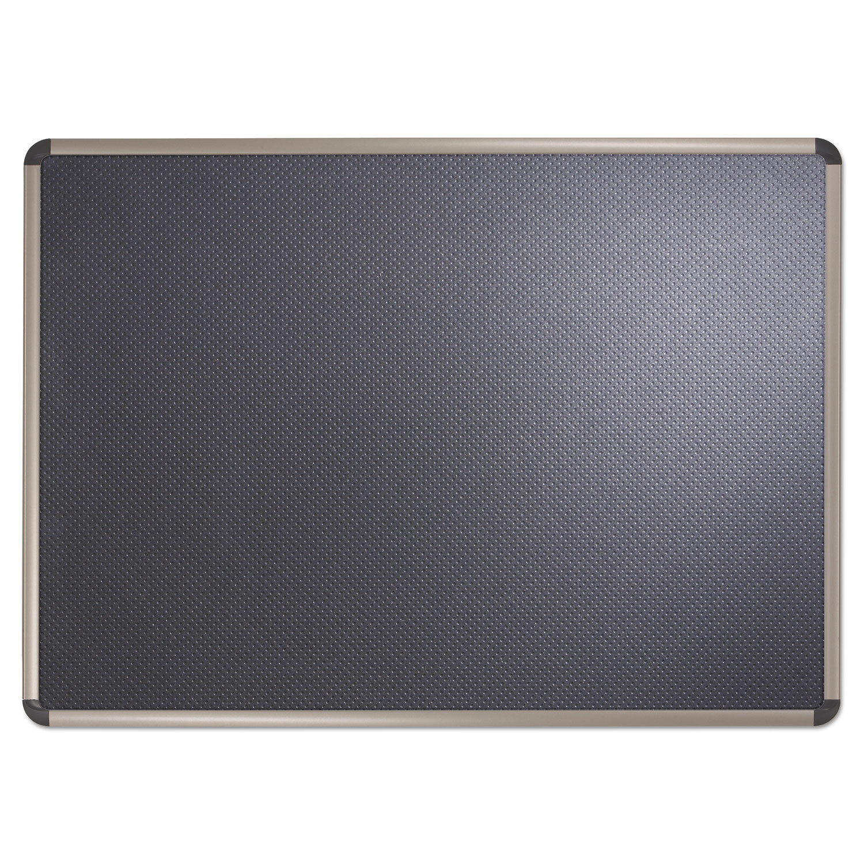 Picture of Prestige Euro-Style Embossed Foam Bulletin Board, 36 x 24, Black/Aluminum Frame