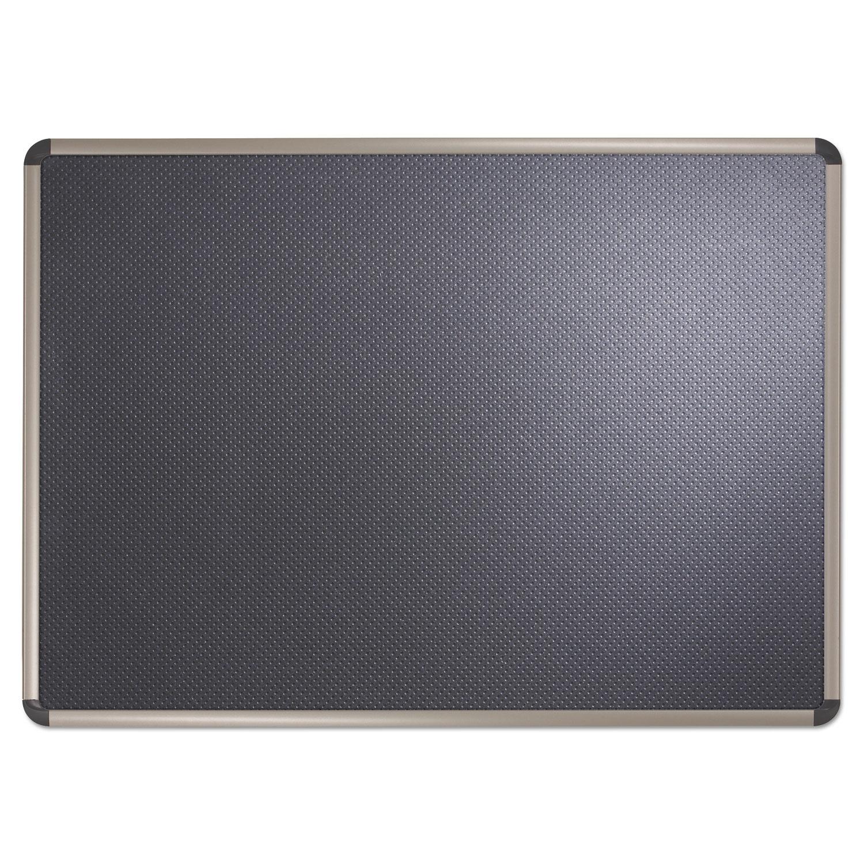 Picture of Prestige Euro-Style Embossed Foam Bulletin Board, 72 x 48, Black/Aluminum Frame