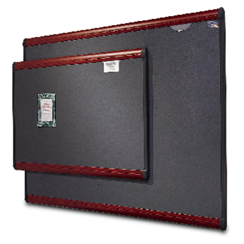 Picture of Prestige Bulletin Board, Diamond Mesh Fabric, 72 x 48, Gray/Mahogany Frame