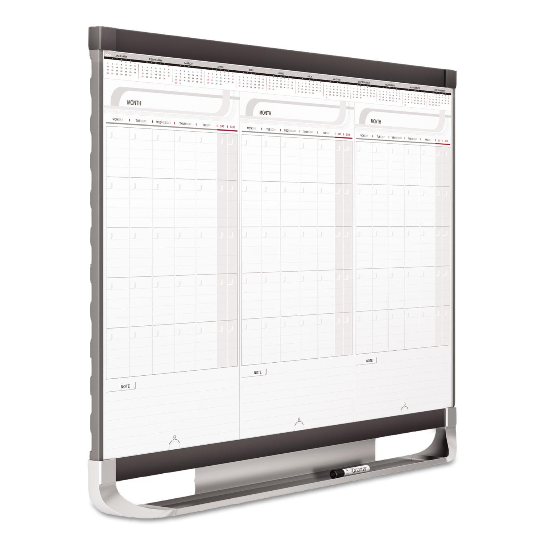 Picture of Prestige 2 Total Erase 3-Month Calendar Board, 36 x 24, White, Graphite Frame