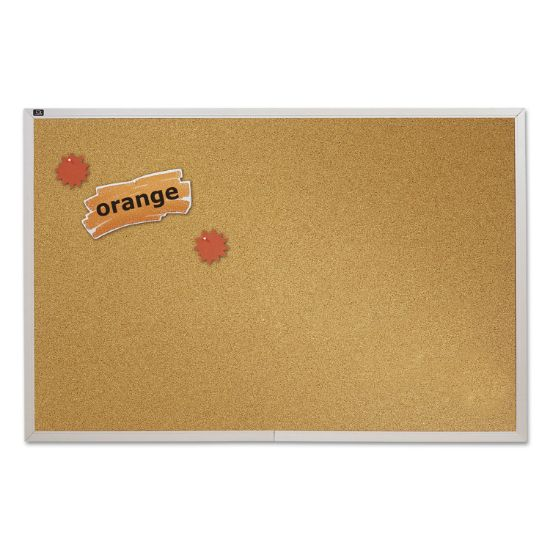 Picture of Natural Cork Bulletin Board, 72 x 48, Anodized Aluminum Frame