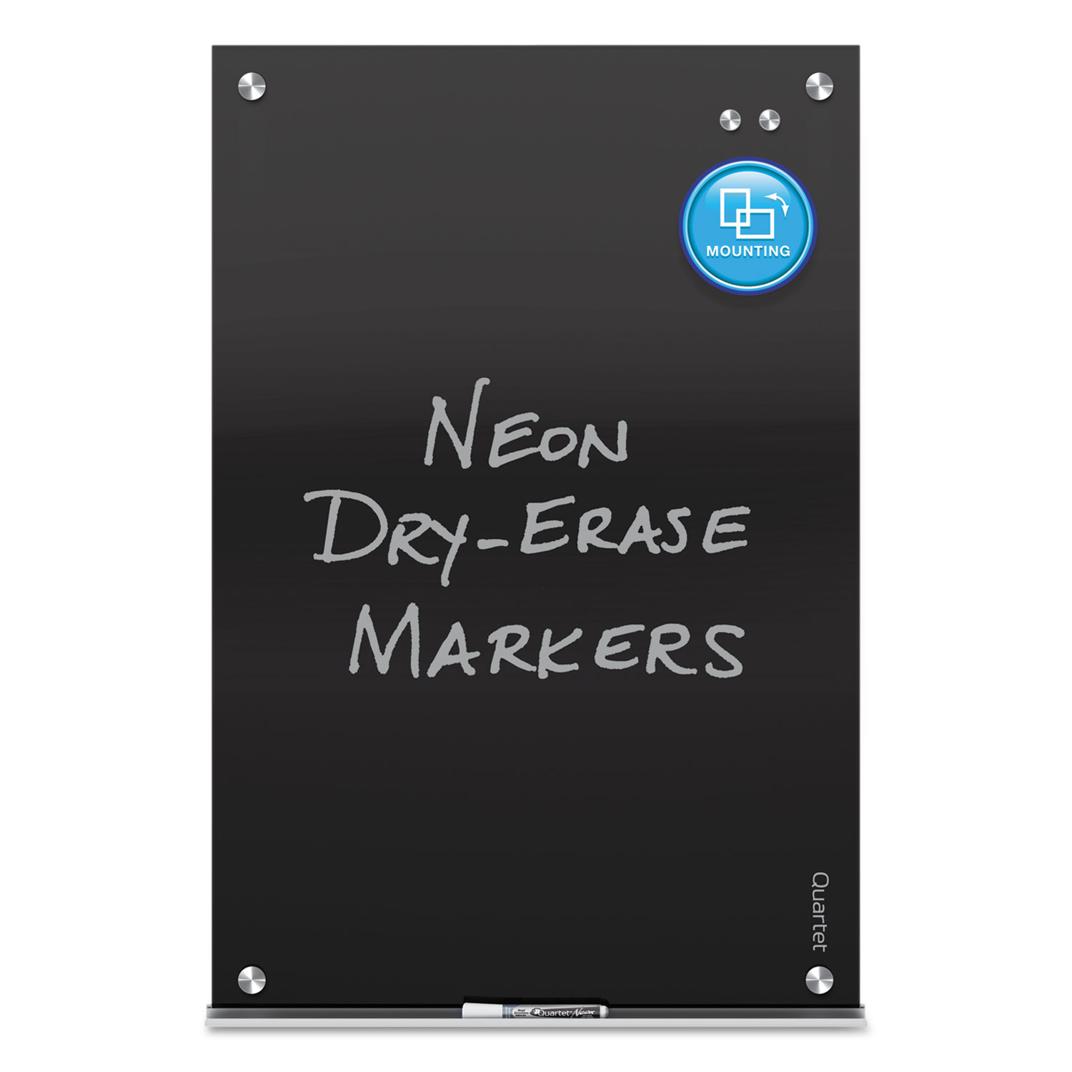 Picture of Infinity Magnetic Glass Marker Board, 24 x18, Black