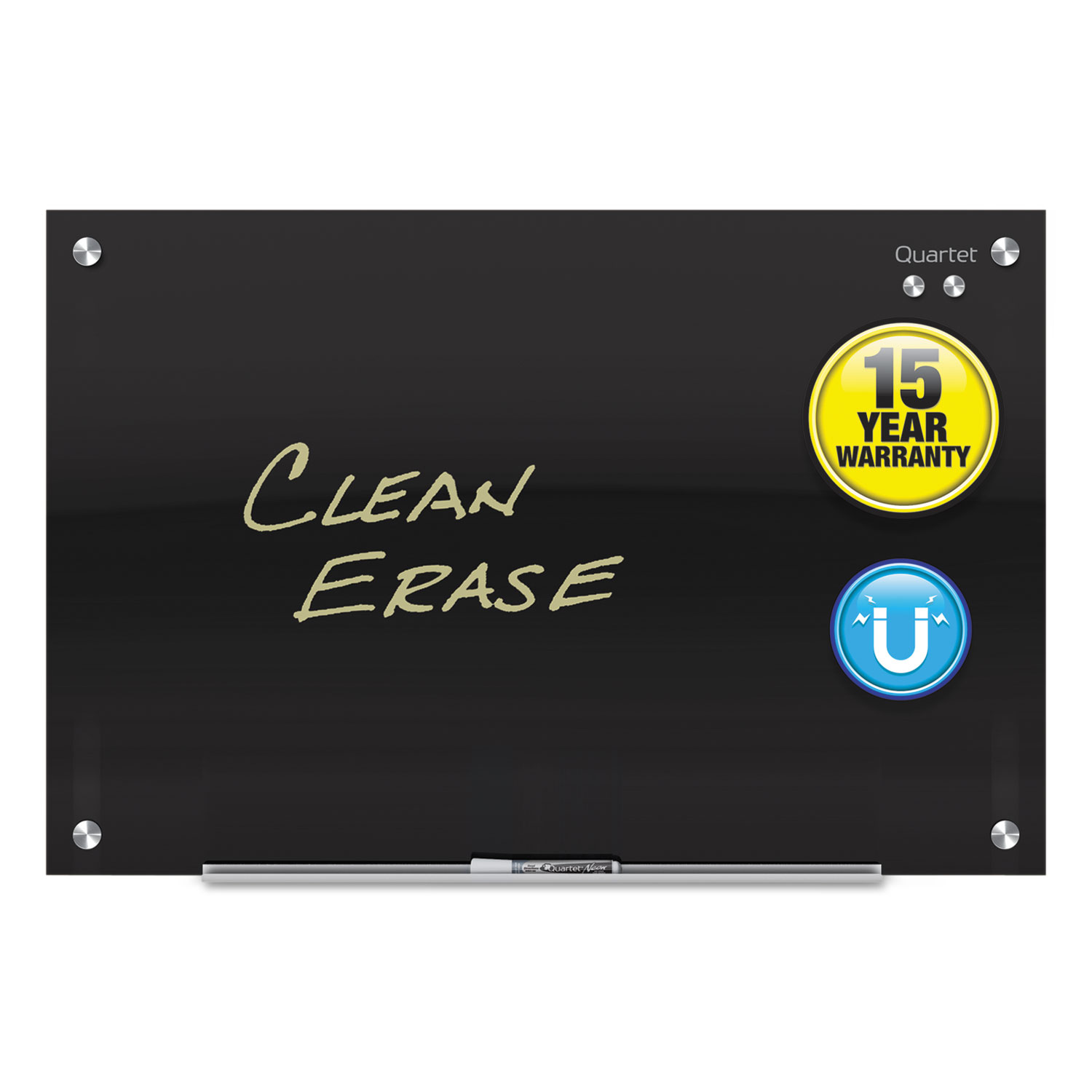 Picture of Infinity Magnetic Glass Marker Board, 36 x 24, Black