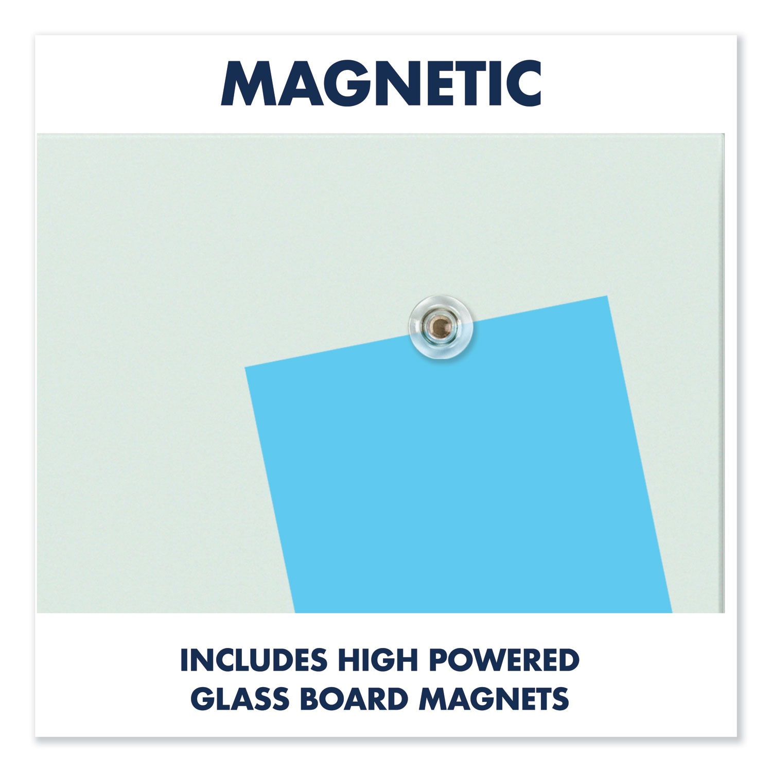 """Picture of InvisaMount Magnetic Glass Marker Board, Frameless, 39"""" x 22"""", White Surface"""