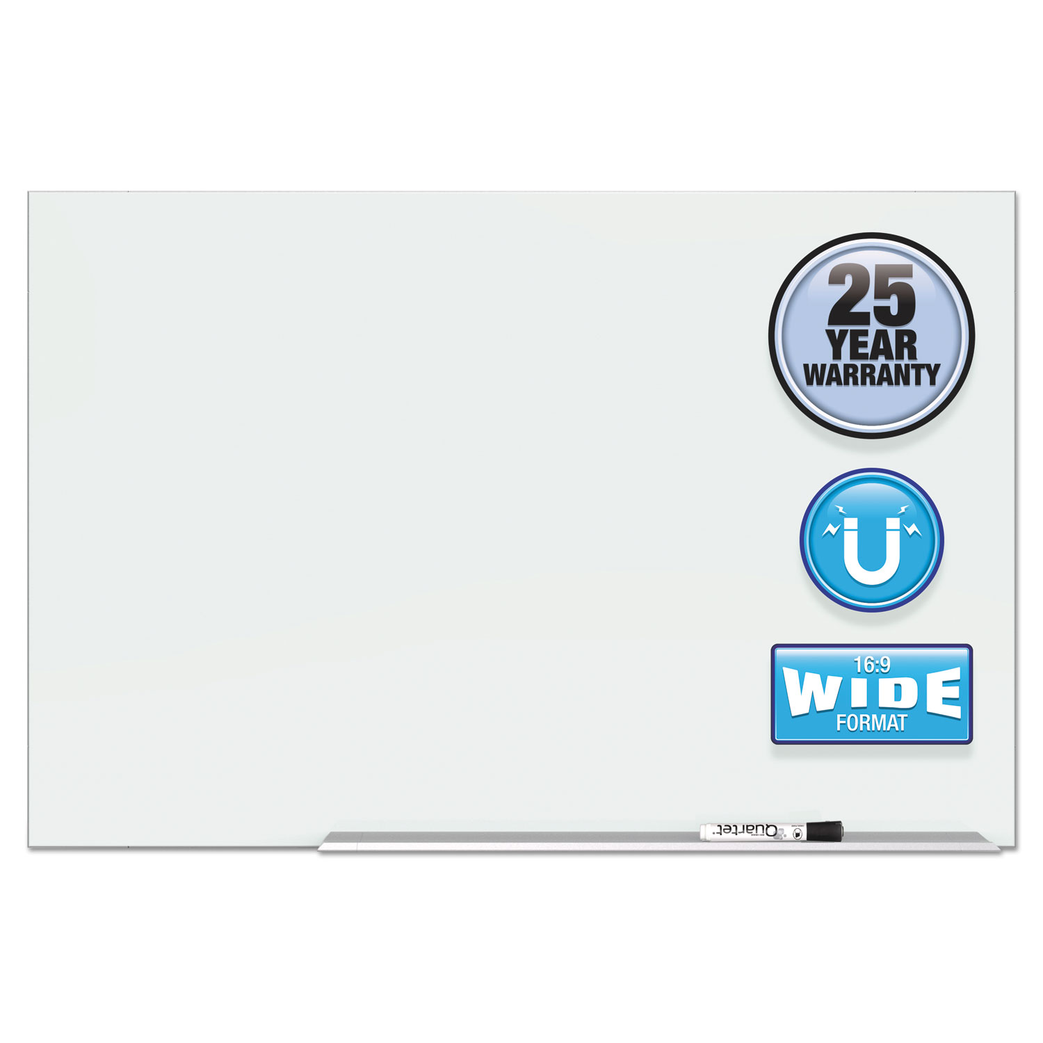 """Picture of Element Framed Magnetic Glass Dry-Erase Boards, 50"""" x 28"""", Aluminum Frame"""