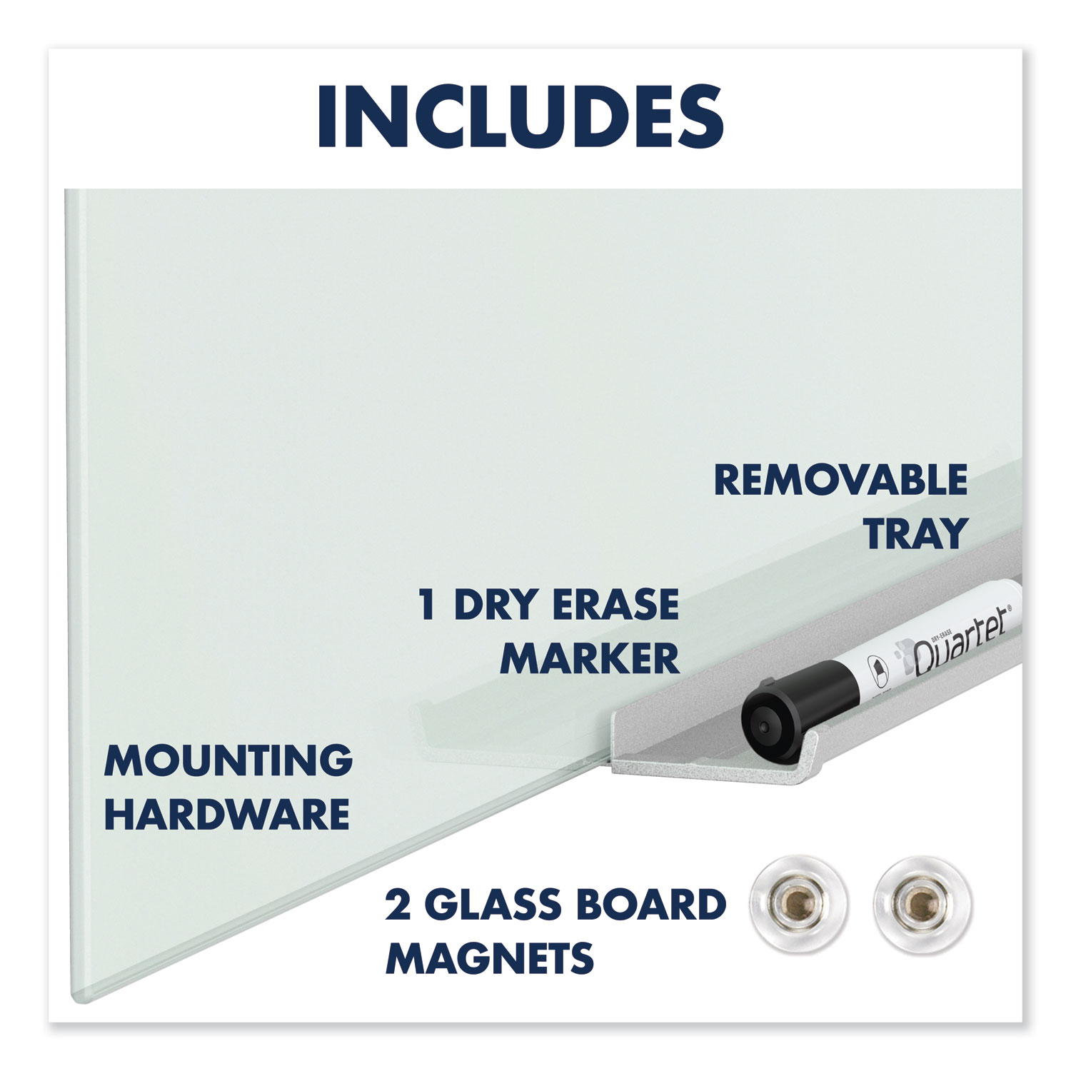 """Picture of InvisaMount Magnetic Glass Marker Board, Frameless, 74"""" x 42"""", White Surface"""