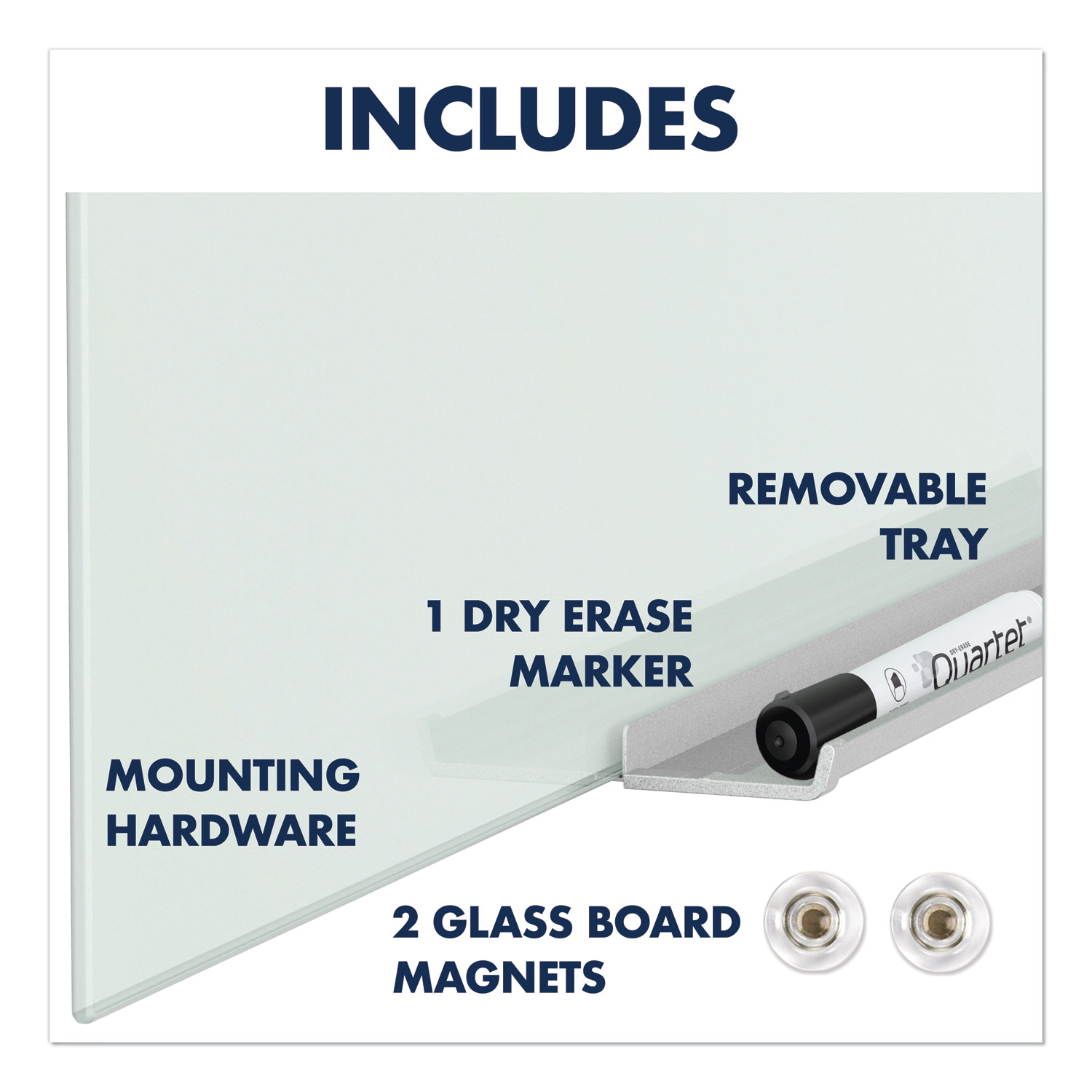 """Picture of InvisaMount Magnetic Glass Marker Board, Frameless, 85"""" x 48"""", White Surface"""