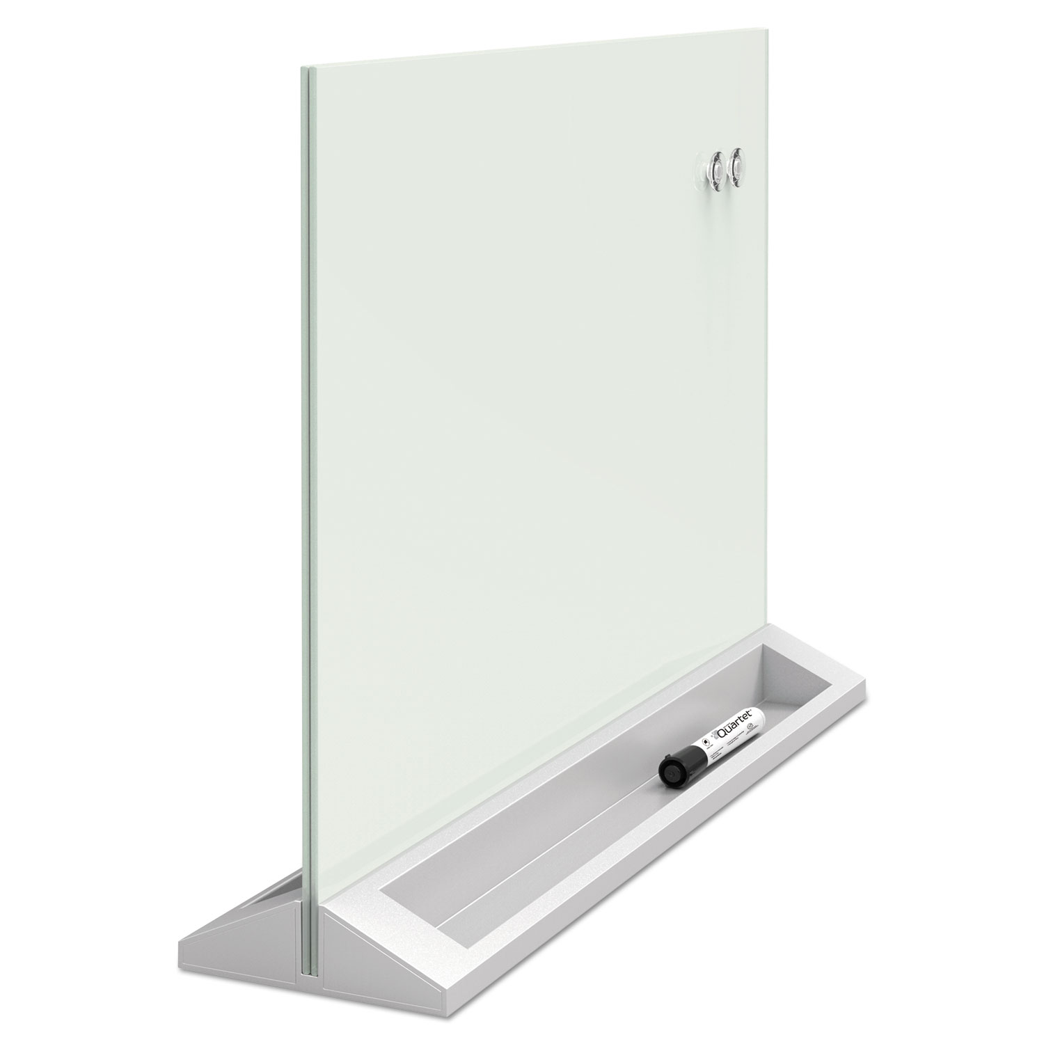 """Picture of Desktop Magnetic Glass Dry-Erase Panel, 23"""" x 17"""", White"""