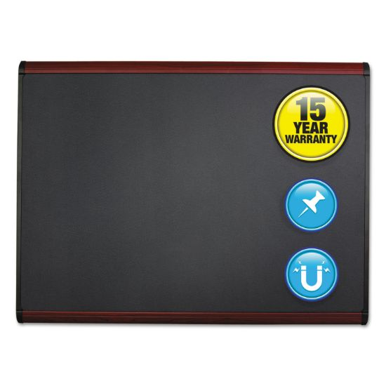 Picture of Prestige Plus Magnetic Fabric Bulletin Board, 72 x 48, Mahogany Frame