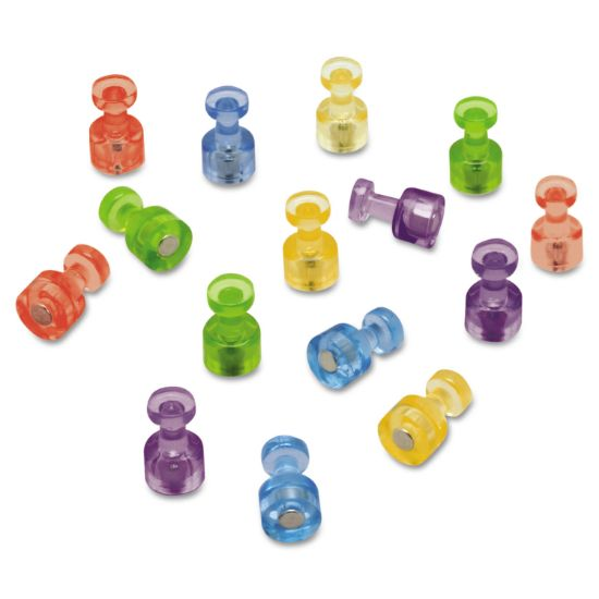 """Picture of Magnetic """"Push Pins"""", 3/4"""" dia, Assorted Colors, 20/Pack"""