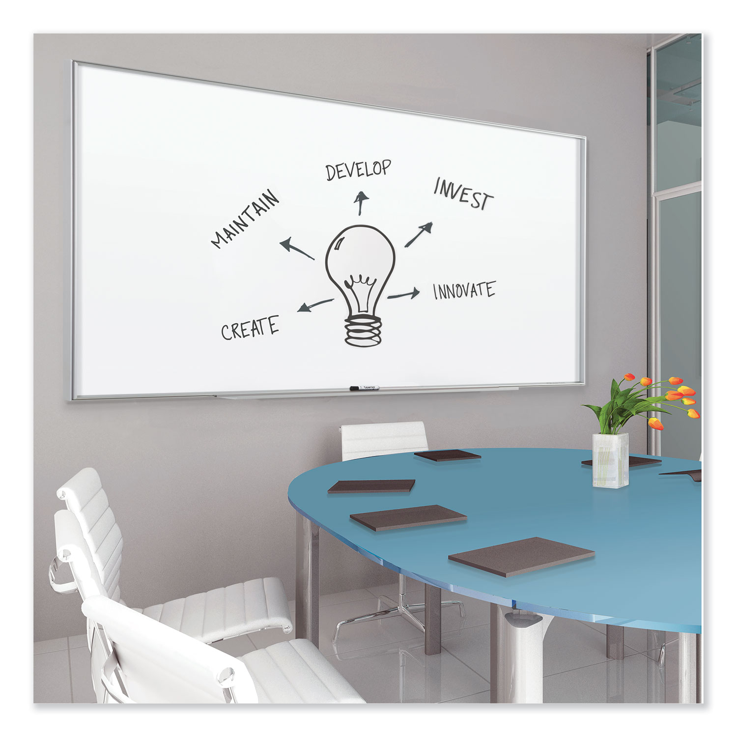Picture of Fusion Nano-Clean Magnetic Whiteboard, 96 x 48, Silver Frame