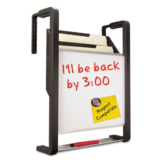 Picture of Hanging File Pocket with Dry Erase Board, Three Pockets, Letter, Black