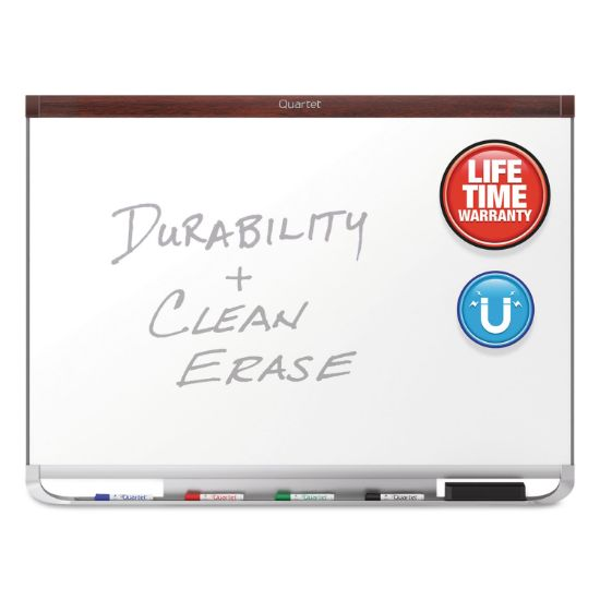 Picture of Prestige 2 DuraMax Magnetic Porcelain Whiteboard, 72 x 48, Mahogany Frame