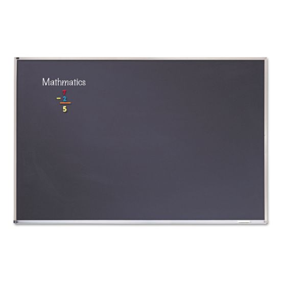 Picture of Porcelain Black Chalkboard with Aluminum Frame, 48 x 96, Silver