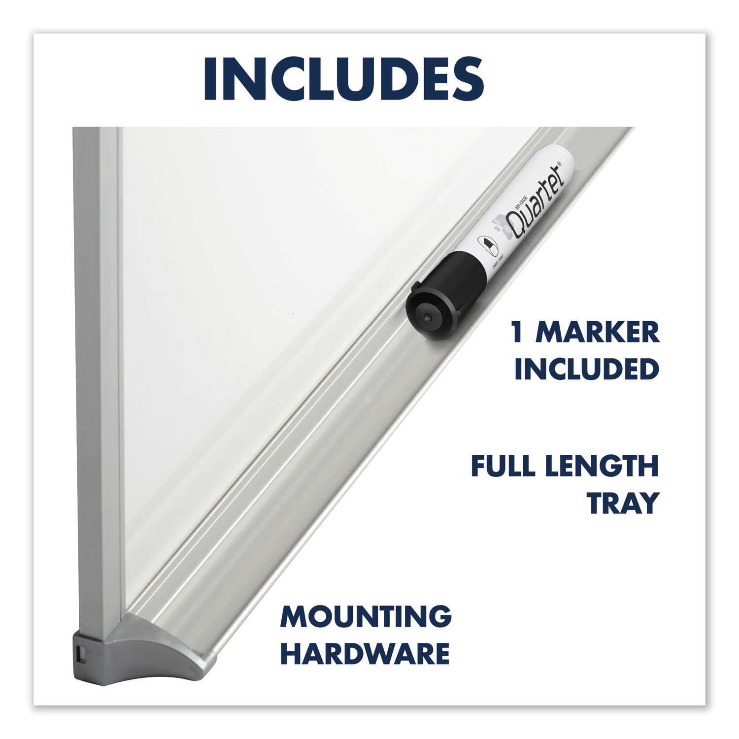 Picture of Porcelain Magnetic Whiteboard, 96 x 48, Aluminum Frame