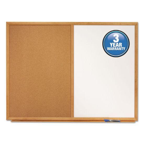Picture of Bulletin/Dry-Erase Board, Melamine/Cork, 48 x 36, White/Brown, Oak Finish Frame