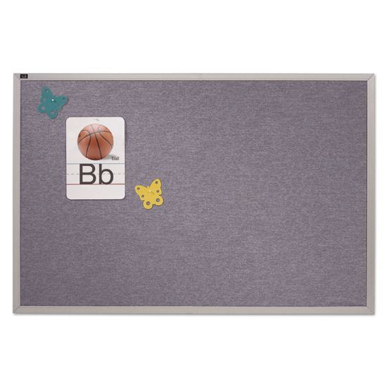 Picture of Vinyl Tack Bulletin Board, 48 x 48, Blue Surface, Silver Aluminum Frame