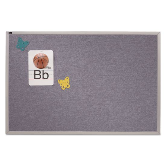 Picture of Vinyl Tack Bulletin Board, 72 x 48, Blue Surface, Silver Aluminum Frame