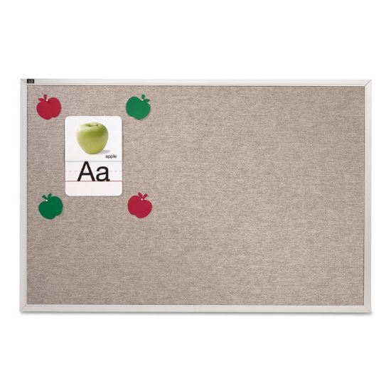 Picture of Vinyl Tack Bulletin Board, 72 x 48, Gray Surface, Silver Aluminum Frame
