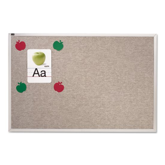 Picture of Vinyl Tack Bulletin Board, 10 ft x 4 ft, Gray Surface, Silver Aluminum Frame