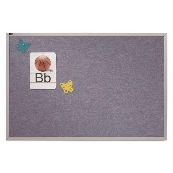 Picture of Vinyl Tack Bulletin Board, 12 ft x 4 ft, Blue Surface, Silver Aluminum Frame