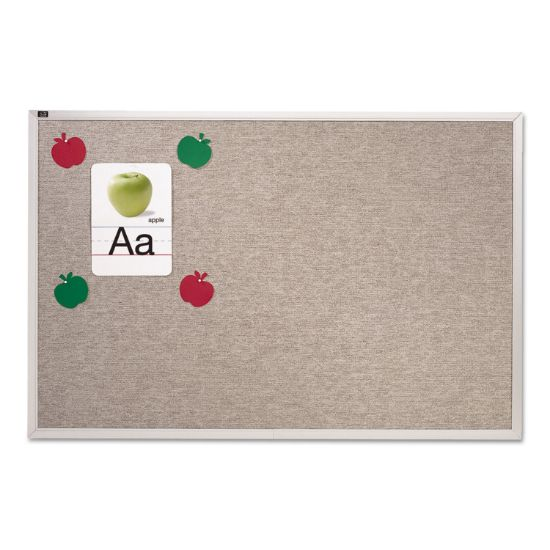 Picture of Vinyl Tack Bulletin Board, 12 ft x 4 ft, Gray Surface, Silver Aluminum Frame