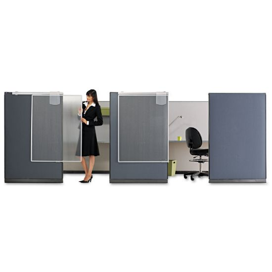 Picture of Workstation Privacy Screen, 36w x 48d, Translucent Clear/Silver