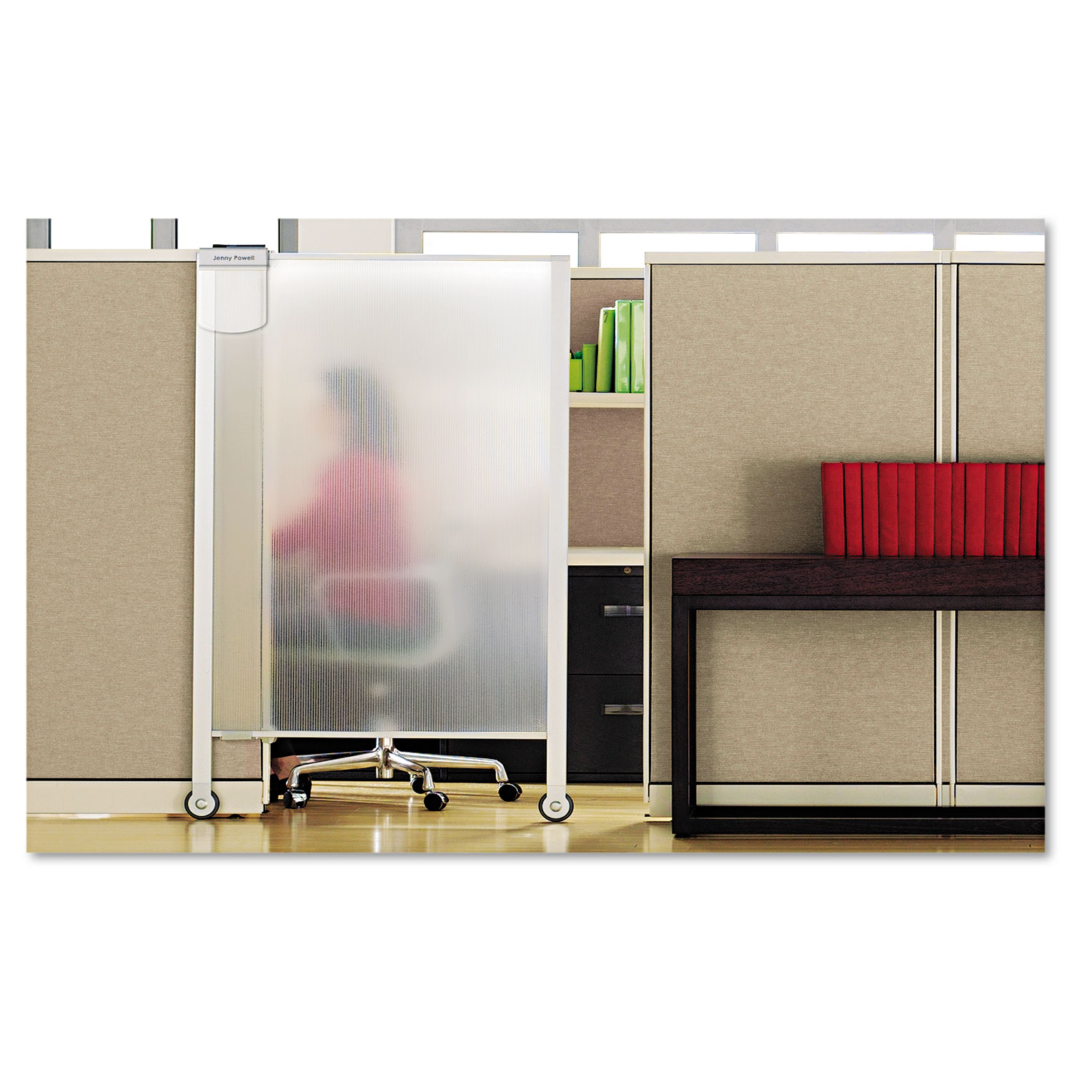 Picture of Premium Workstation Privacy Screen, 38w x 64d, Translucent Clear/Silver