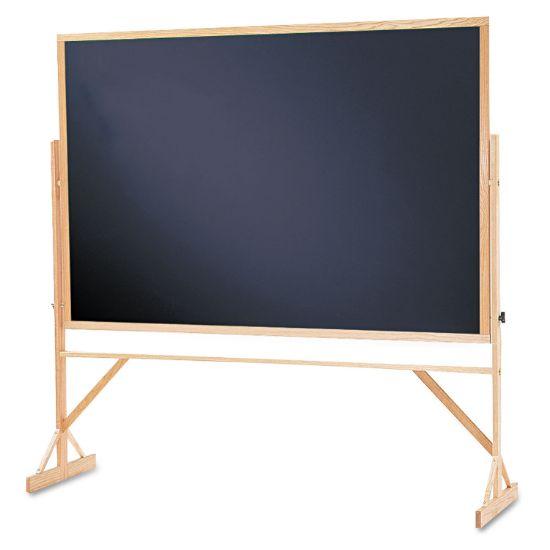 Picture of Reversible Chalkboard, 72 x 48, Black Surface, Oak Frame